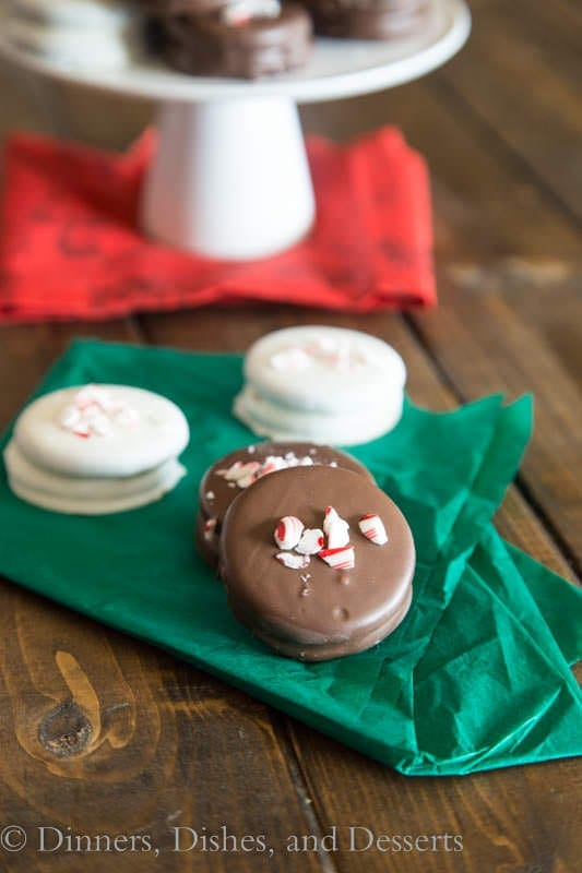 chcolate peppermint dipped oreos on a napkin