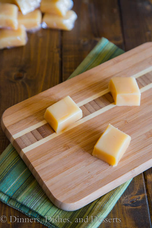 homemade caramels on a board