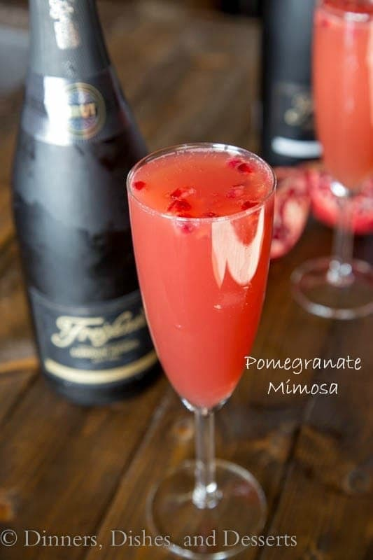 pomegranate mimosa in a glass