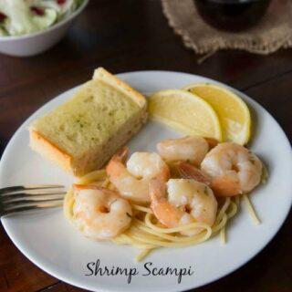 shrimp scampi on a plate