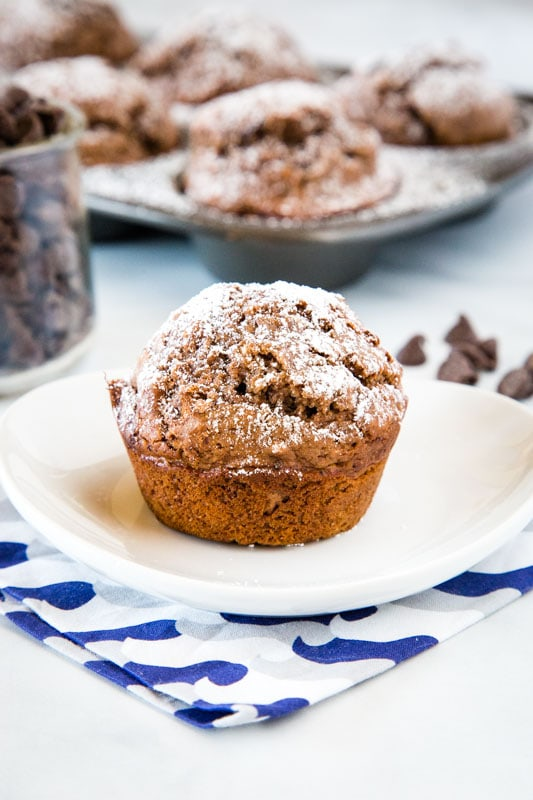 These moist and tender chocolate muffins are great to have stocked in your freezer