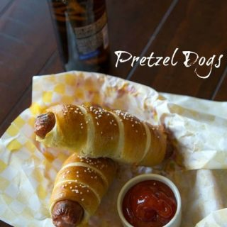 pretzel dogs on a napkin