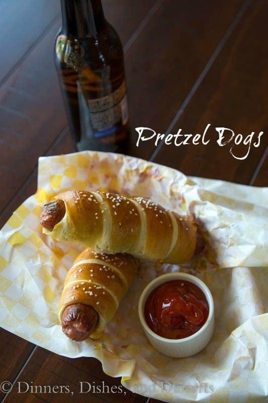 pretzel dogs on a napkin
