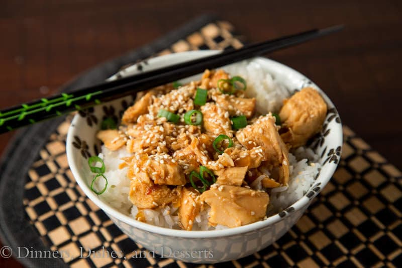 slow cooker honey and sesame chicken on a plate