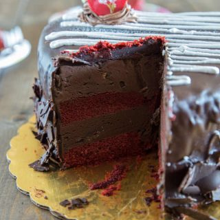 Valentine's truffle cake on a plate