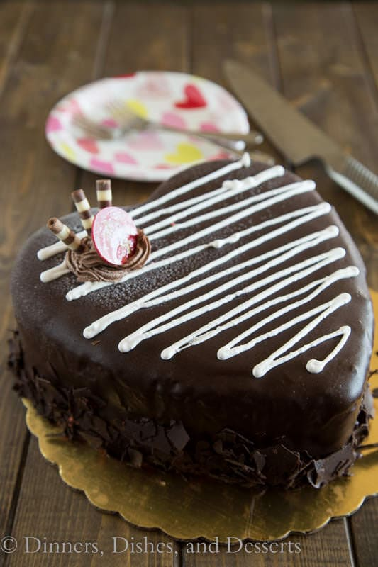 Valentine\'s truffle cake on a plate
