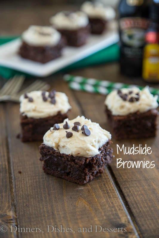 mudslide brownies on a board