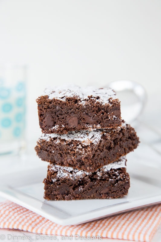 brownies stacked on a plate