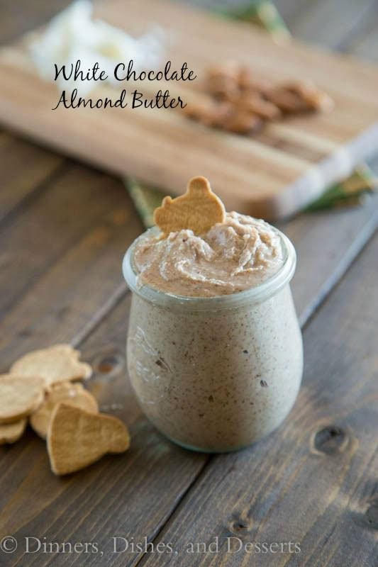 white chocolate almond butter in a jar