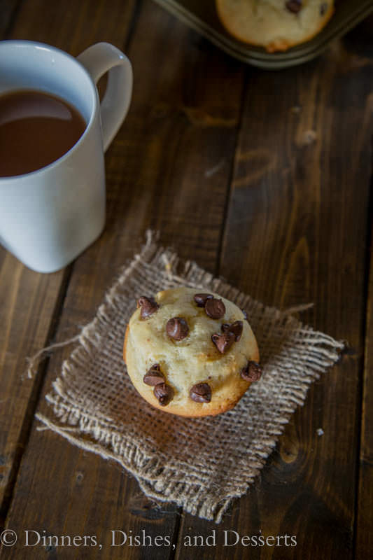 bakery style chocolate chip muffins on a napkin