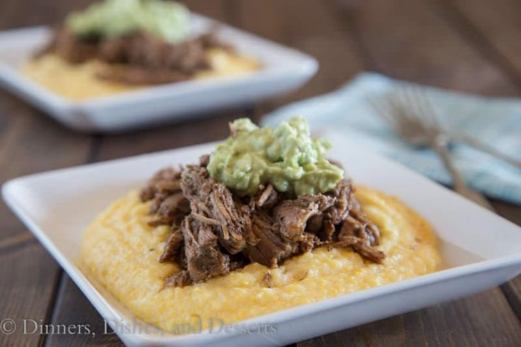 Slow Cooker Balsamic Pork with Polenta and Avocado Cream