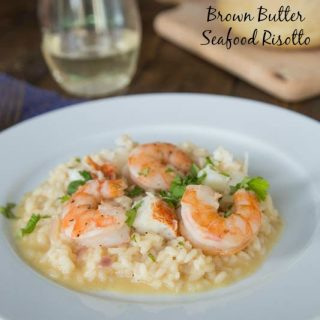 brown butter seafood rissoto on a plate