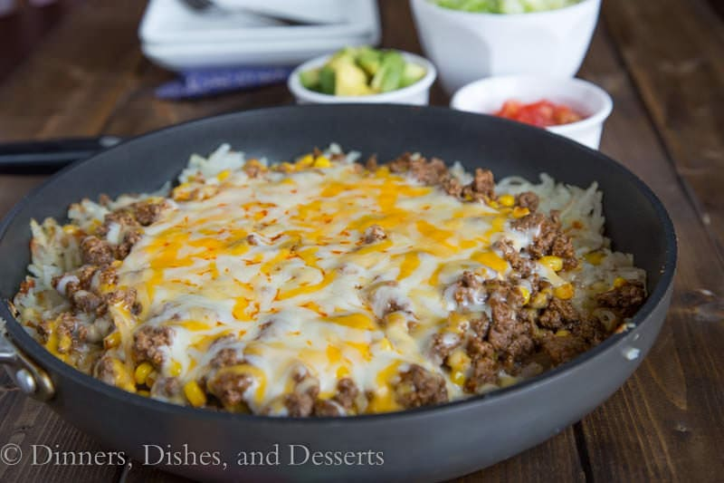 hashbrown enchilada skillet in a pan