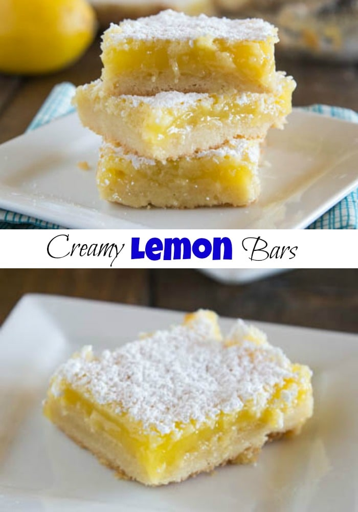 Lemon Bars - a buttery shortbread crust with a creamy lemon filling.  Top with powdered sugar for a sweet, tart, and delicious treat!