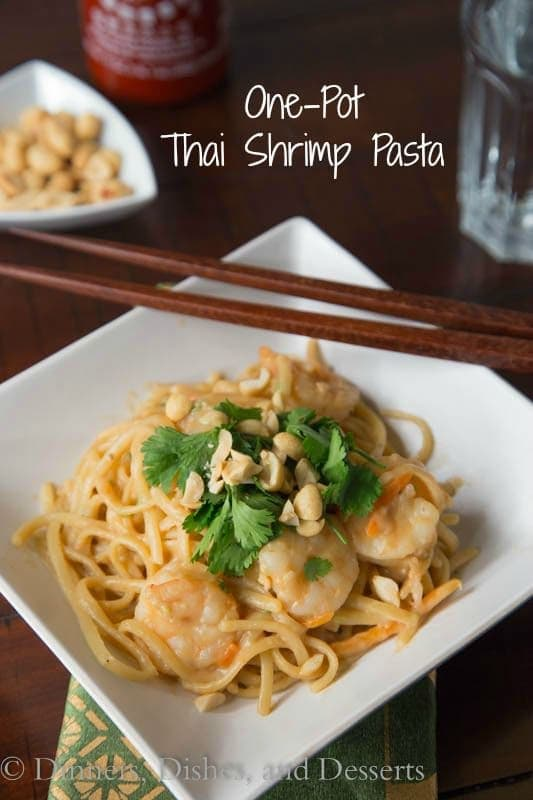 1 pot thai shrimp pasta on a plate