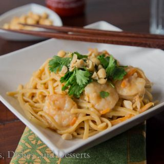 1 pot thai shrimp pasta on a plate