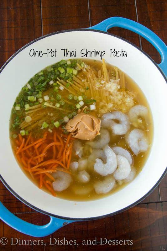 1 pot thai shrimp pasta in a bowl
