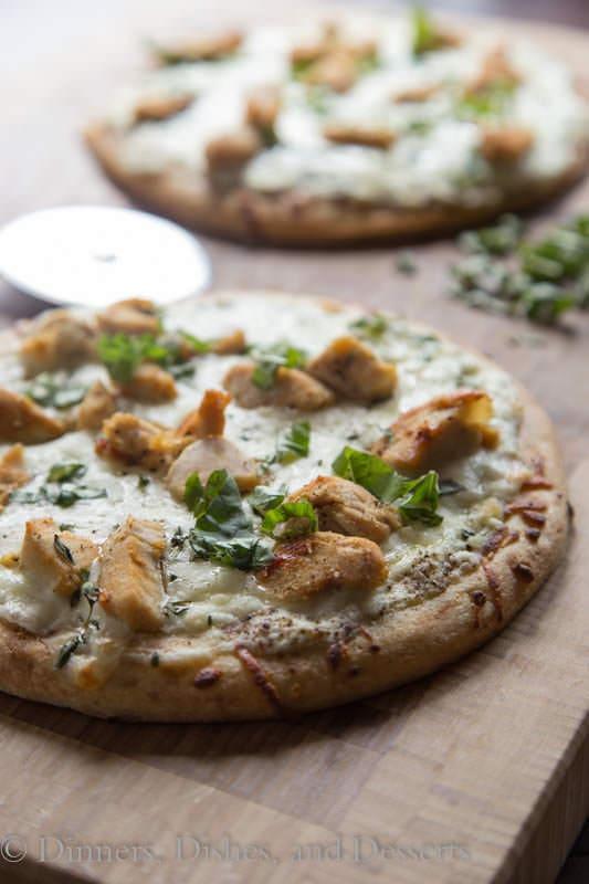white chicken pizza on a board