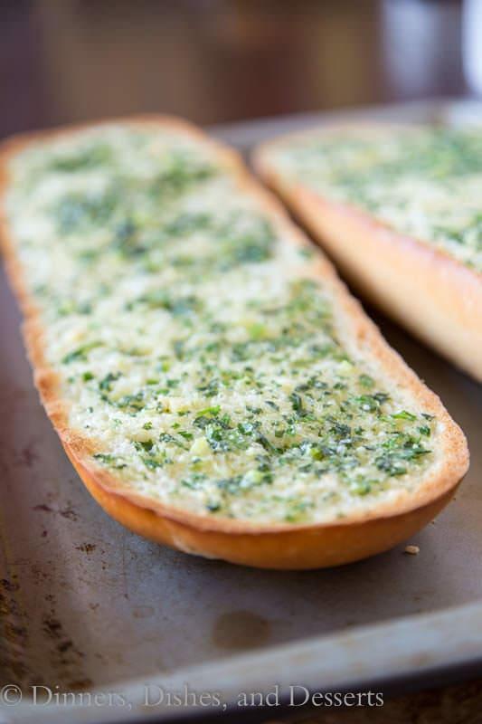 basil garlic bread in a pan