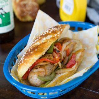 Chicken Sausage Sandwich on a Pretzel Roll