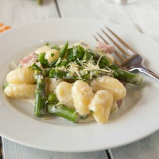 Creamy Spring Gnocchi - great use for leftover ham and spring veggies!