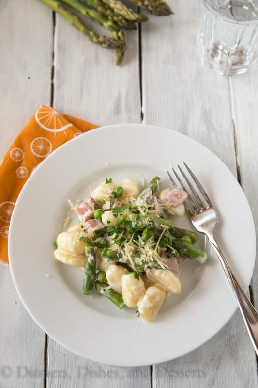 creamy spring gnocchi on a plate
