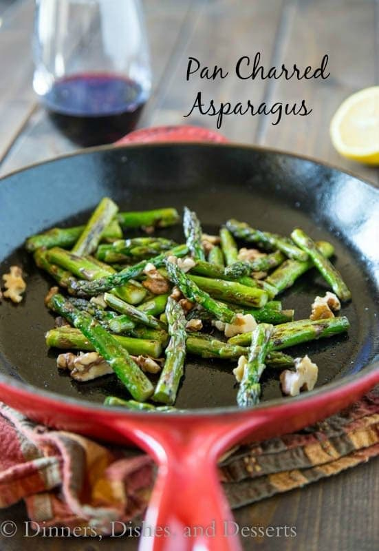 Pan Charred Asparagus with Lemon and Walnuts | Dinners, Dishes, & Desserts