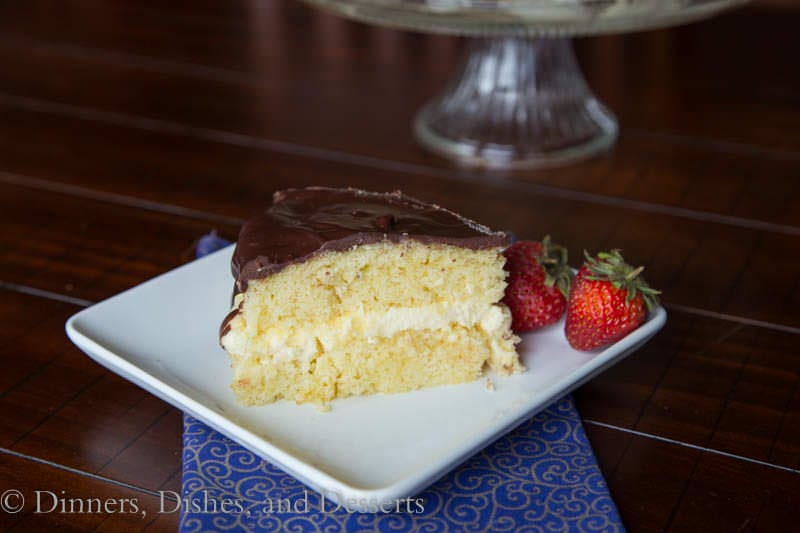 Boston Cream Pie - sponge cake with vanilla pastry cream and chocolate ganache {Dinners, Dishes, and Desserts}