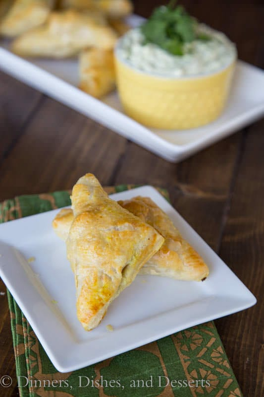 Brazilian Chicken Turnovers with an Avocado Yogurt Dipping Sauce - uses puff pastry to make them super quick and flaky!