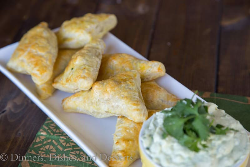Brazilian Chicken Turnovers w/ Avocado Yogurt Dipping Sauce - perfect finger food for a party {Dinners, Dishes, and Desserts}