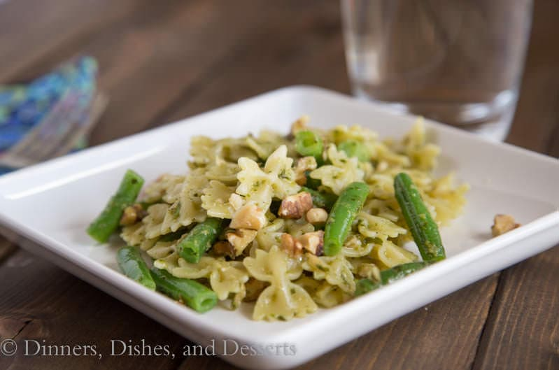 Bowtie Pasta with Green Beans, Pesto, and Toasted Walnuts   Dinners, Dishes, & Desserts