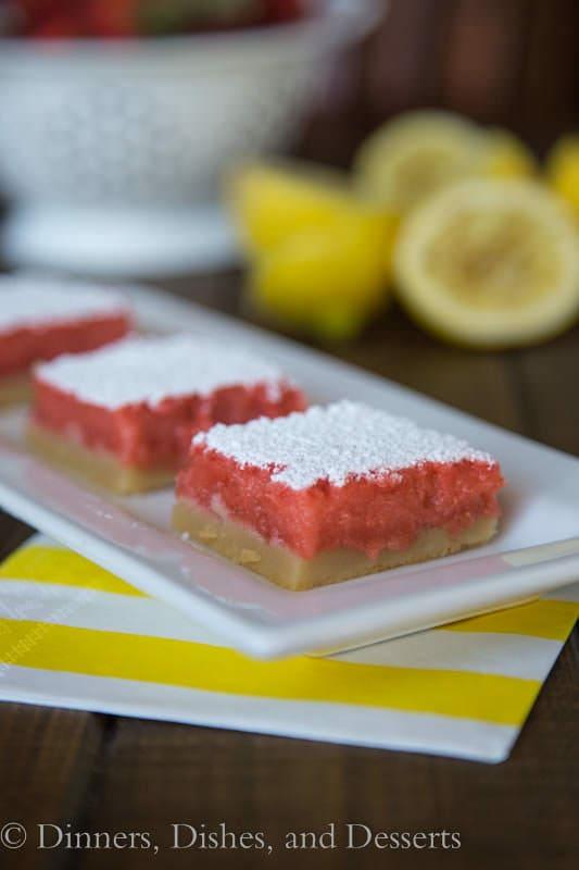 Strawberry Lemonade Bars - sweet, creamy, and tart! Perfect for summer