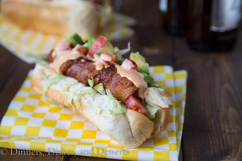 BLT Bacon Wrapped Hot Dogs {Dinners, Dishes, and Desserts}