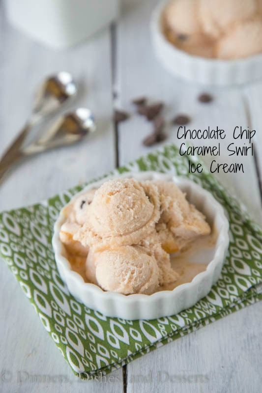 Chocolate Chip Caramel Swirl Ice Cream - creamy and perfect for summer!