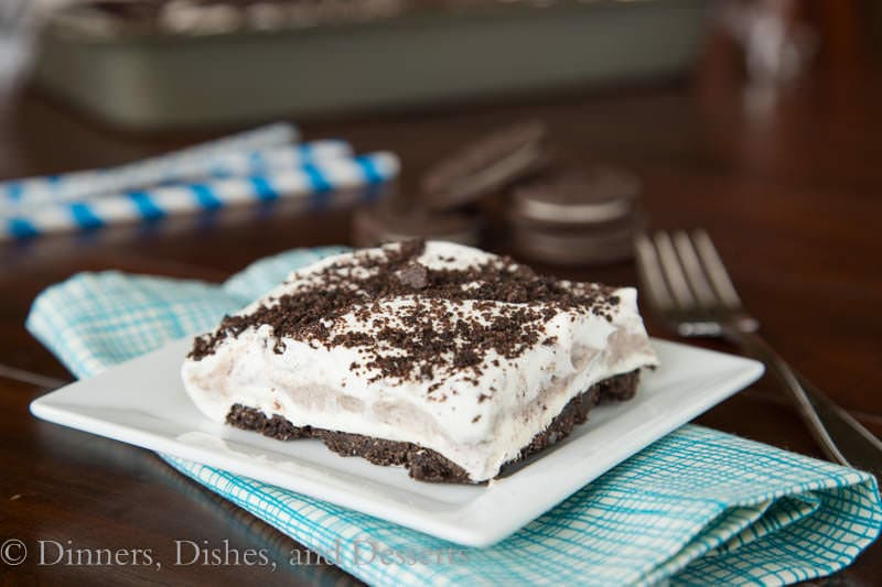 No Bake Oreo Cream Squares {Dinners, Dishes, and Desserts}