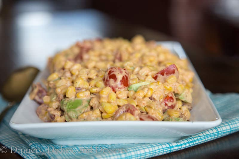 Southwestern Corn Salad - Bacon, Corn, Avocado, and Tomato in a creamy Southwestern dressing