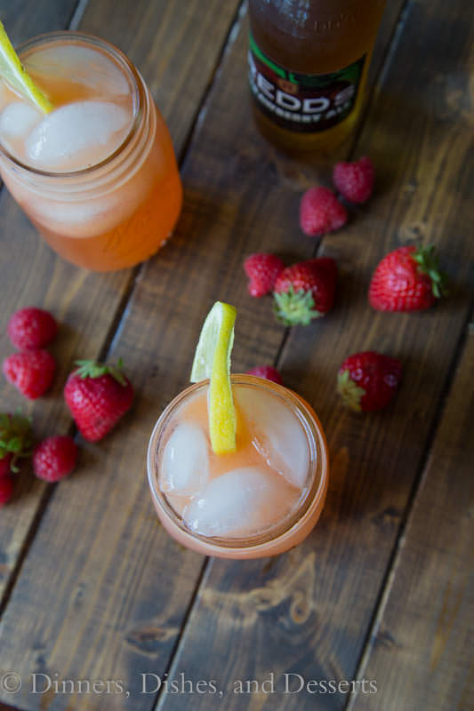 Mixed Beery Lemonade - strawberries, raspberries, lemonade, vodka and strawberry ale oh my!