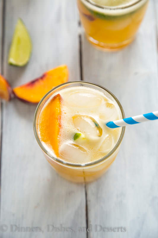 Bourbon Peach Limeade; summer peaches never tasted so good!