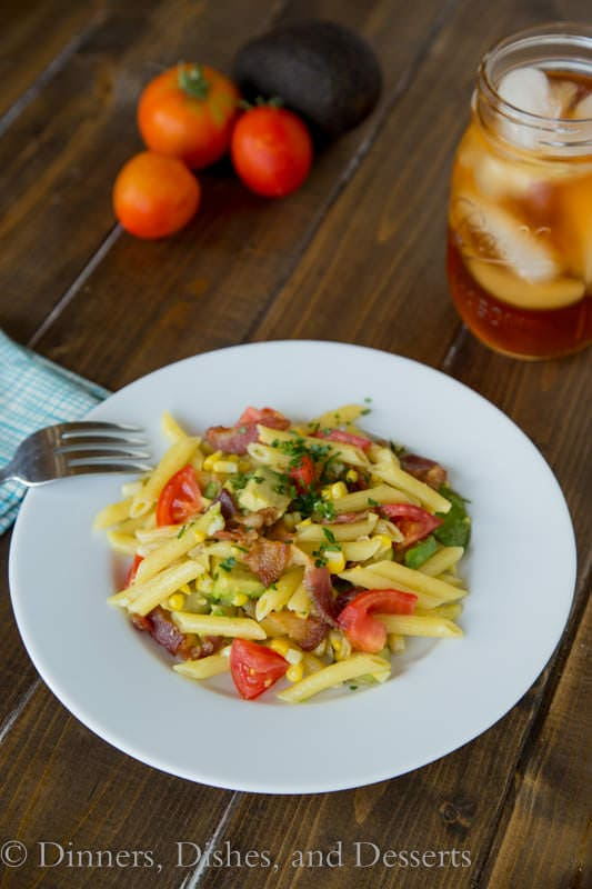 Bacon, Corn & Avocado Pasta - great use of the last bit of summer produce