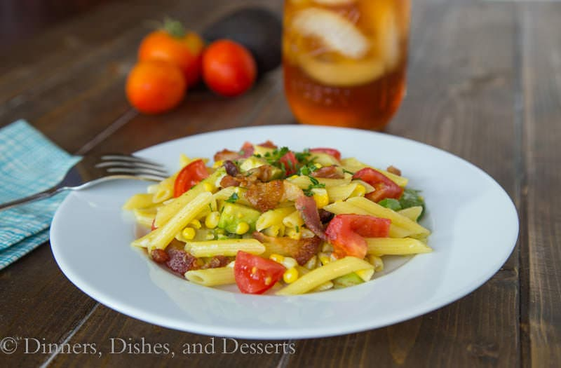 Bacon, Corn & Avocado Pasta {Dinners, Dishes, and Desserts}