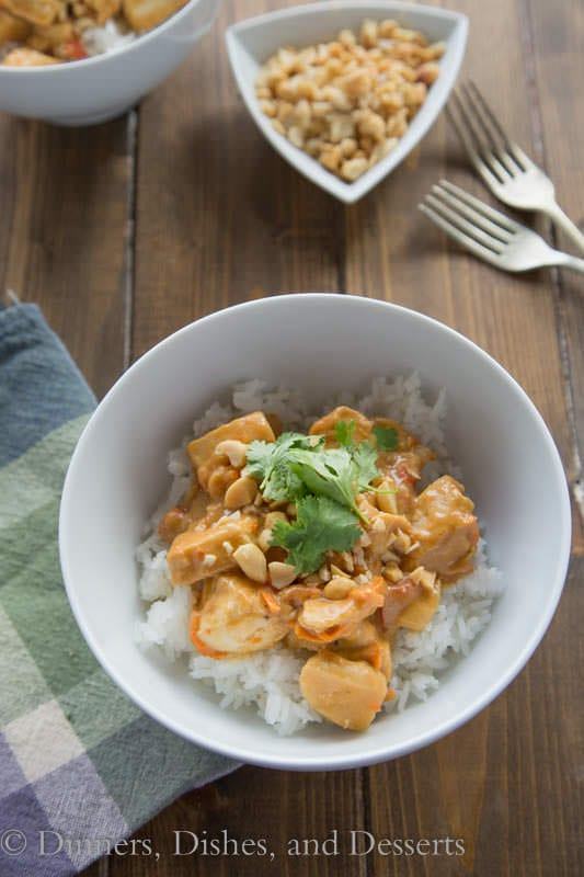 Peanut Chicken with Rice - a dinner the whole family is going to love