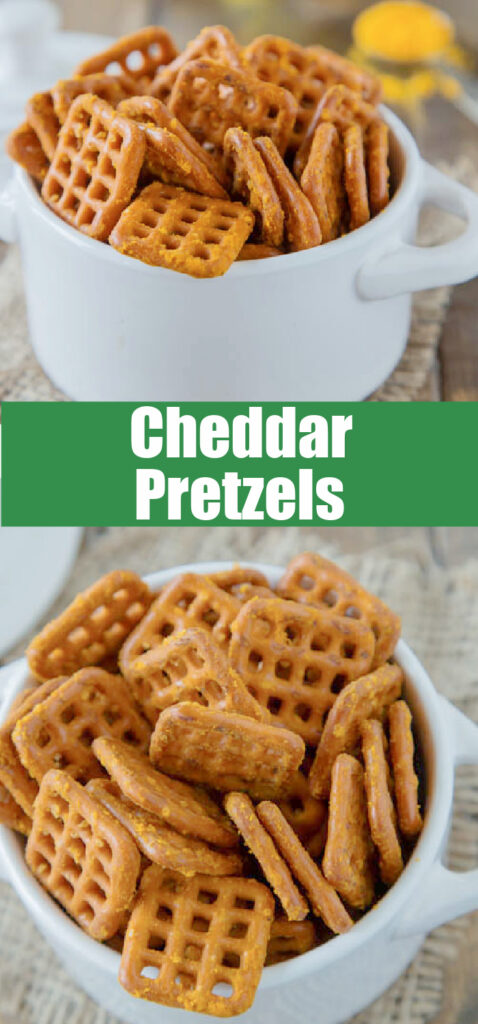 cheddar flavored pretzels in a bowl