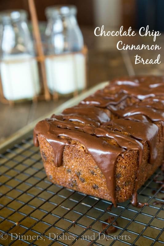 Chocolate Chip Cinnamon Bread - a quick cinnamon flavored bread with chocolate chips and covered in a chocolate glaze