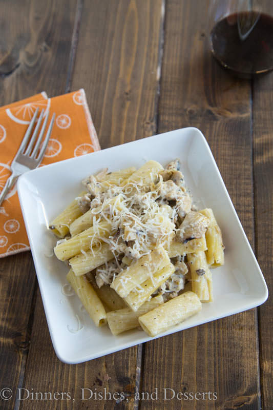 Creamy Sausage & Artichoke Pasta is quick and easy for a quick weeknight meal!