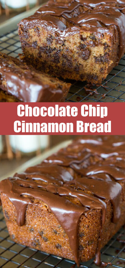 chocolate chip cinnamon quick bread loaf with chocolate glaze