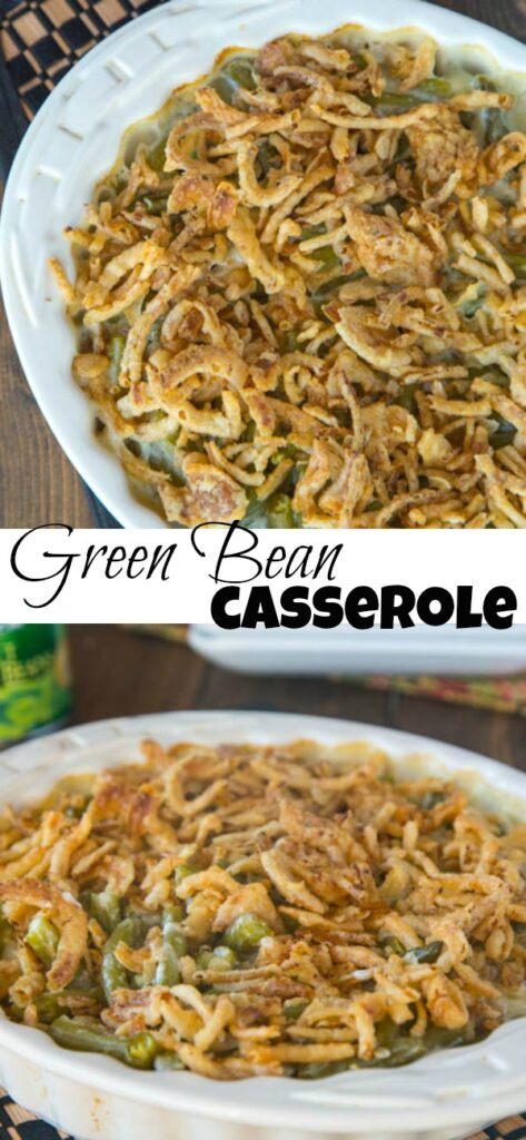 close up of green bean casserole in a casserole dish