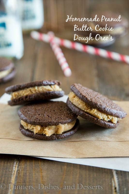 Homemade Peanut Butter Cookie Dough Oreos - homemade oreos are so easy to make, and these are sandwiched around (egg-free) peanut butter cookie dough!