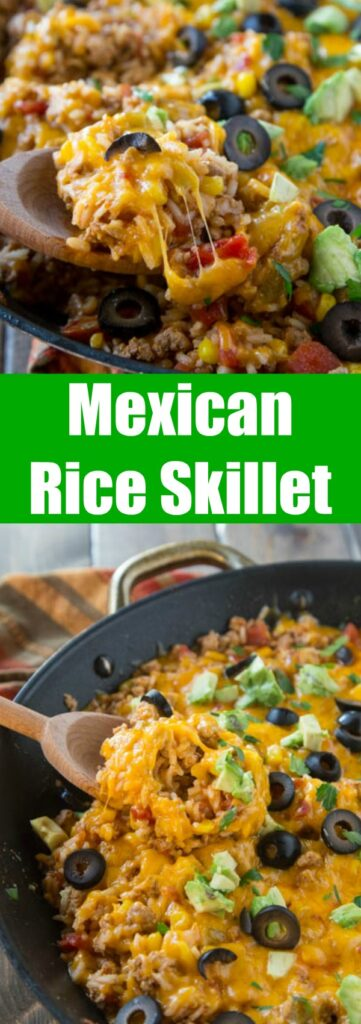 close up of mexican rice skillet in a pan