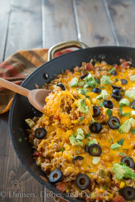 mexican rice skillet in a pan