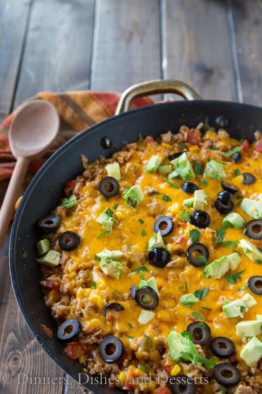 This Mexican rice skillet is a one pot meal you'll make again and again. Especially because you can make it in under 30 minutes!